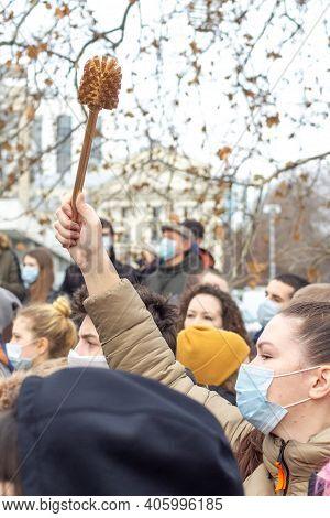 Krasnodar, Russia - January 31, 2021. Golden Brush - A Symbol Of Corruption. Opposition Activists Pr