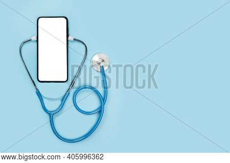 Online Doctor. App Health Phone Mockup. Get An Online Consultation From Doctor By Mobile Phone. Stet