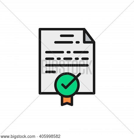 Certificate, Grant, Diploma, Quality Control Approved Flat Color Line Icon.
