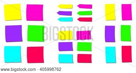 Neon Colored Sticky Notes, Different Forms With Bright Fluorescent Colors. Isolated Vector Illustrat