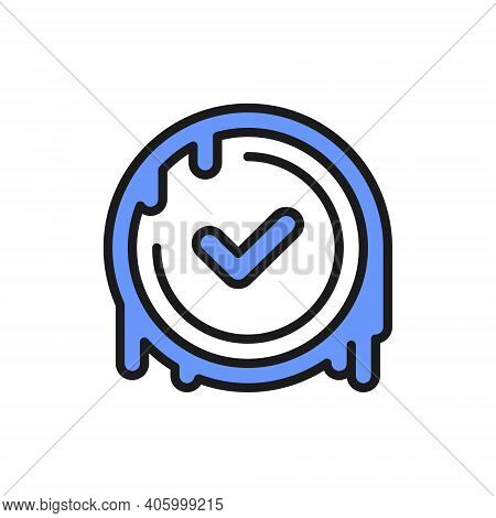Checkmark Stamp, Verified Wax Seal, Quality Control Approved Color Line Icon.