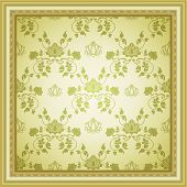 Vector seamless retro rococo background in gold tone poster