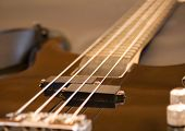 View of black bass guitar close up poster