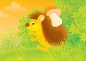 spiny hedgehog carrying a mushroom in a forest poster