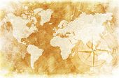 Old-Fashioned World Map Design: Rustic World Map with Compass Rose Illustration / Background. poster