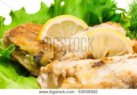 Fried Haddock Fish, Closeup Photo