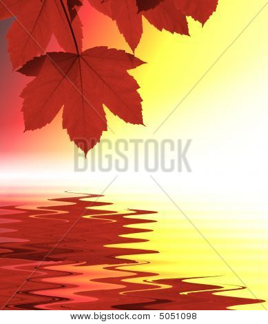 Red Leaves Reflected In Water