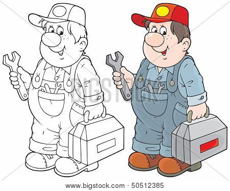 service technician with his toolbox, color and black-and-white outline illustration on a white background poster