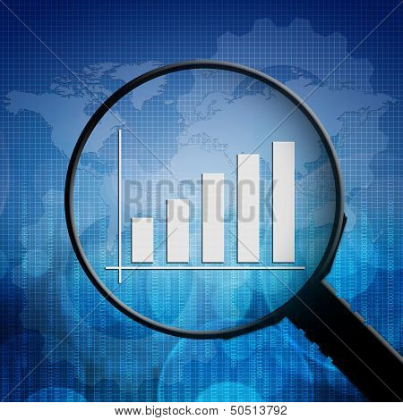 Business Graph In Magnifying Glass