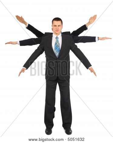 Businessman With Six Hands
