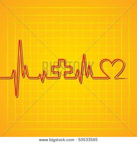 Heart beat make medical and heart symbol