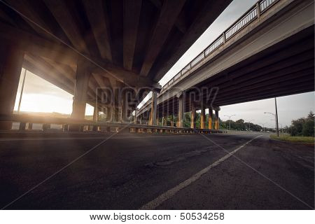 Concrete Road Straight Line Of Viaduct