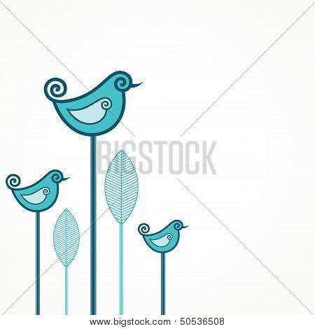 Funny vector blue birds with leaves