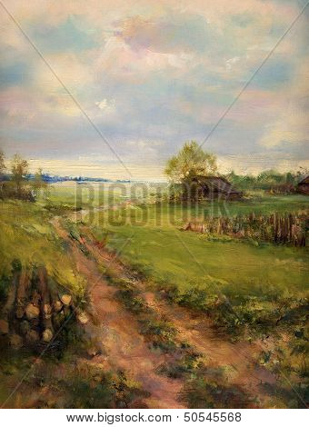 Rural Retro Scene Painted On Canvas