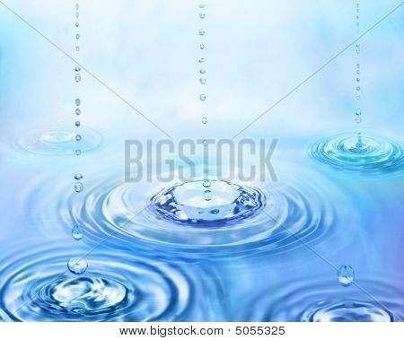 Rain drops from sky hardening moment. blue poster