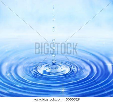 Shining clean water and drops. Blue color poster