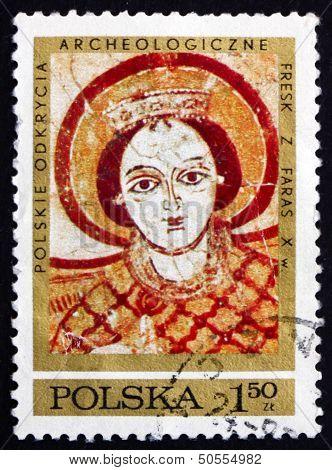 Postage Stamp Poland 1971 Archangel Michael, Fresco