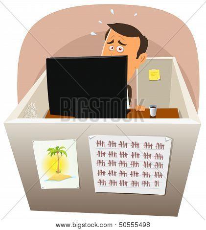 Depressive Worker At Work
