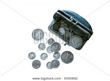 Vintage Coins And Worn Coin Purse