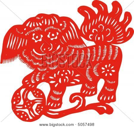 Chinese traditional culture paper cut of unicorn poster
