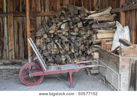 Wood In Wood Shed With Old Fashion Wheel Barrow