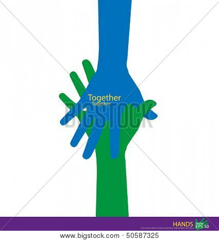 Handshake, Teamwork Hands Logo. Vector illustration.