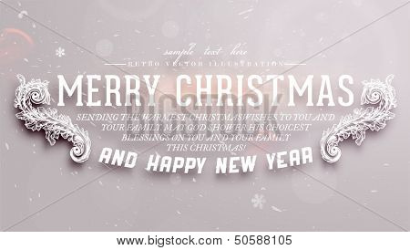 Christmas typographic label for Xmas and New Year holidays design. Calligraphic vector Decoration.
