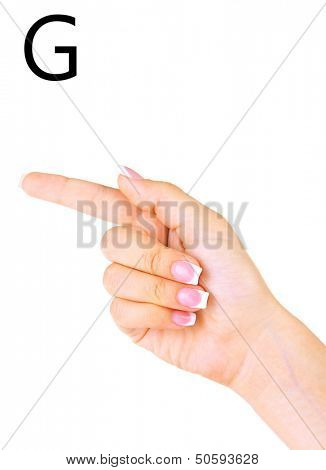 Finger Spelling the Alphabet in American Sign Language (ASL). Letter G