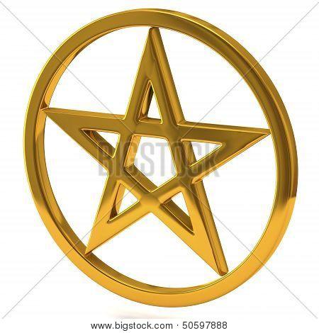 Golden pentagram sign