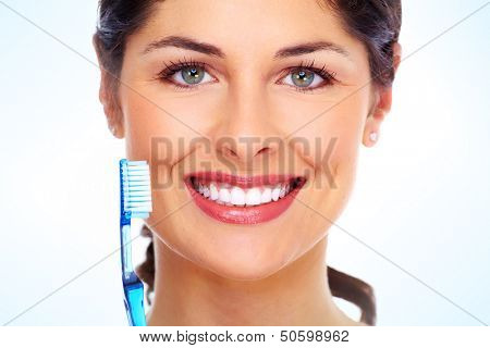 Beautiful woman with toothbrush. Dental care background. poster