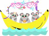 These three Mice are on a relaxing journey in their decorated Banana Boat. poster