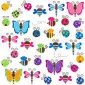 Large Vector Collection of Patchwork and Baby Shower Themed Bugs poster