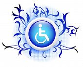 disabled icon on blue decorative button poster