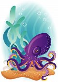 The Vector illustration - purple octopus on the seabed poster