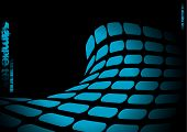 Bright neon blue abstract wave background with copy space poster