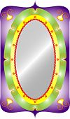 Oval mirror. Decorative oval with mirror isolated classic frame with filigree. poster