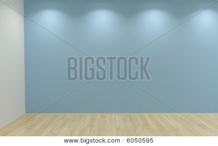 Blank Blue Wall With Lamps