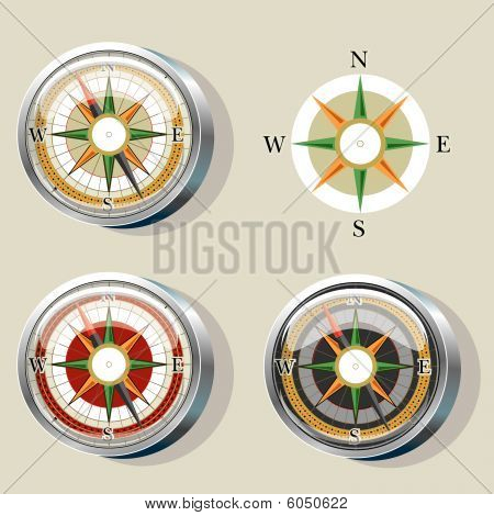Compass with wind rose