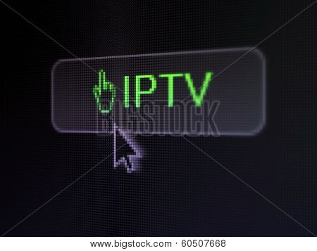 Web development concept: IPTV and Mouse Cursor on digital button background