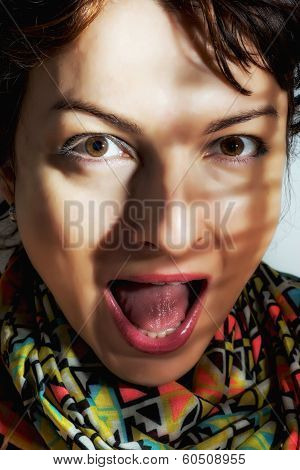 Caucasian woman making surprised face. Mouth wide open. poster