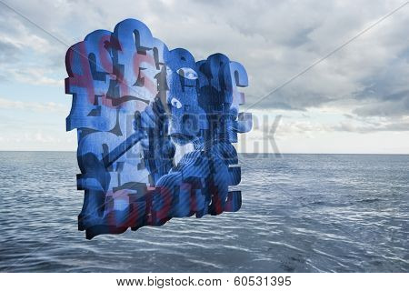 Burglar on abstract screen against cloudy sky and ocean