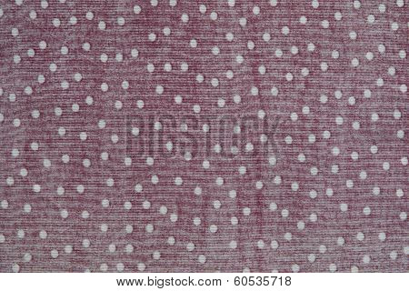 Texture Of Red Fabric With White Peas