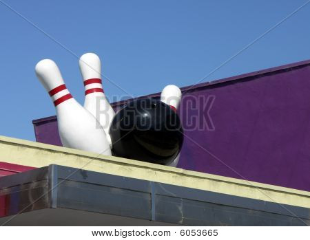 Bowling Ball and Pins Sign