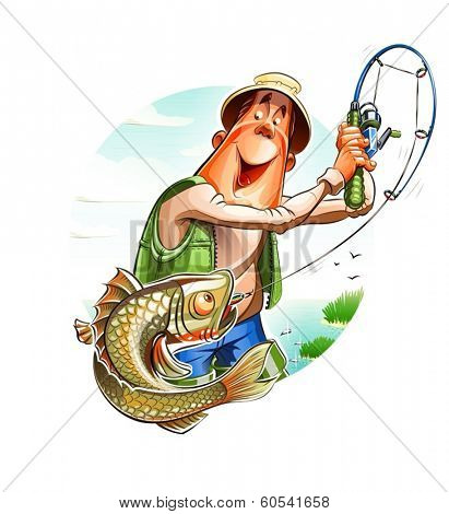Fisherman and fish. Eps10 vector illustration. Isolated on white background