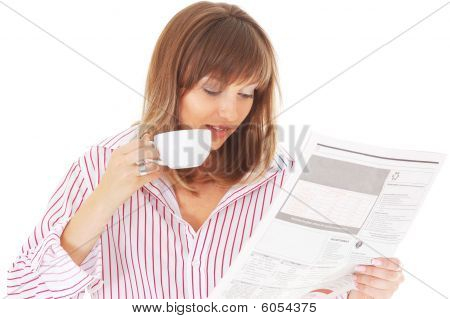 Woman With Cup And Newspaper