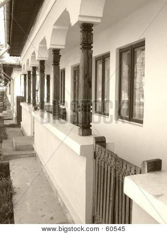 Traditional Houses On Sepia