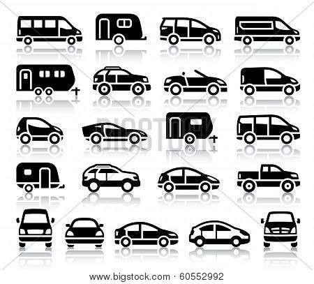 Set of transport black icons