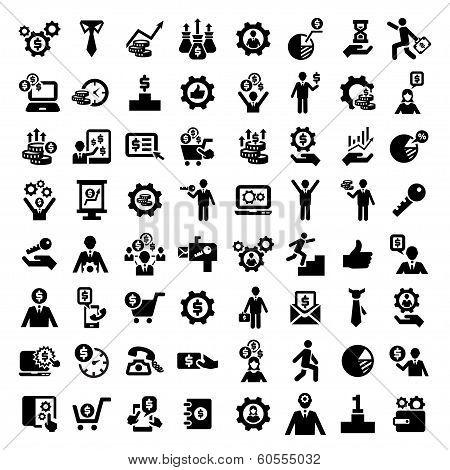 big business success icons set