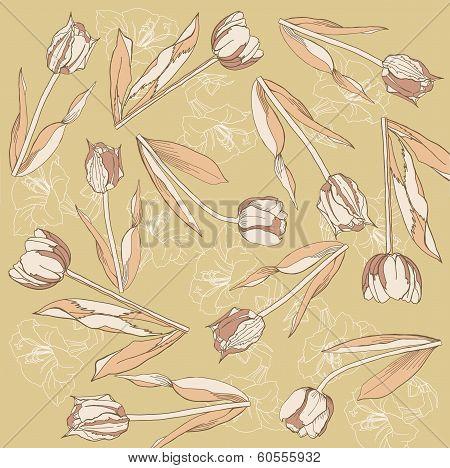 Retro Background With  Tulips And Amarilis