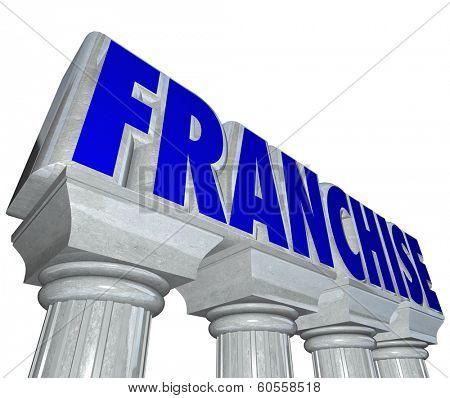 Franchise Word Marble Columns Established Strong Business Brand